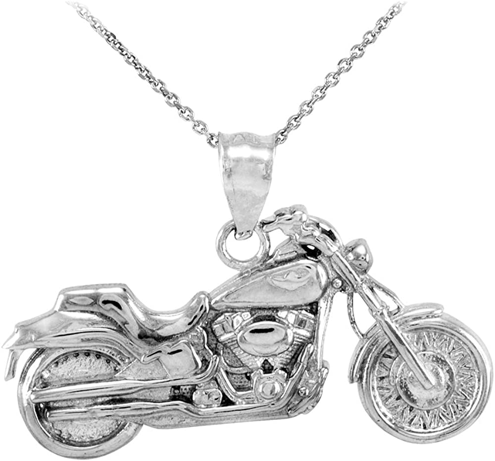JAJAFOOK Mens Stainless Steel Bicycle Pendant Necklace Black//Gold//Silver 24 inches Chain