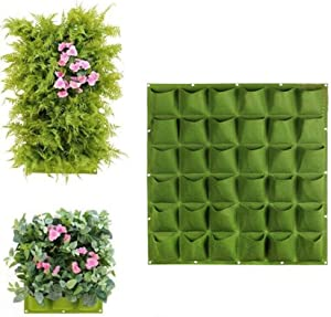 Luonita Vertical Wall Hanging Planters -36 Pocket Vertical Greening Hanging Wall Garden Plant Grow Pot Bag Planter for Balcony Garden Yard Office Home Decoration