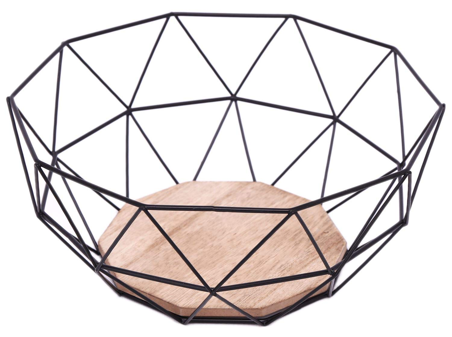 Black Geometric Metal Wire Wooden Base Decorative Storage/ Display Basket Fruit Bowl Carousel Home and Gifts