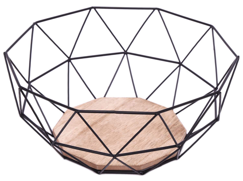 Schwarz Geometrische Metall Draht Holz Boden Dekorative Aufbewahrung/Display Korb Obstschale Sil