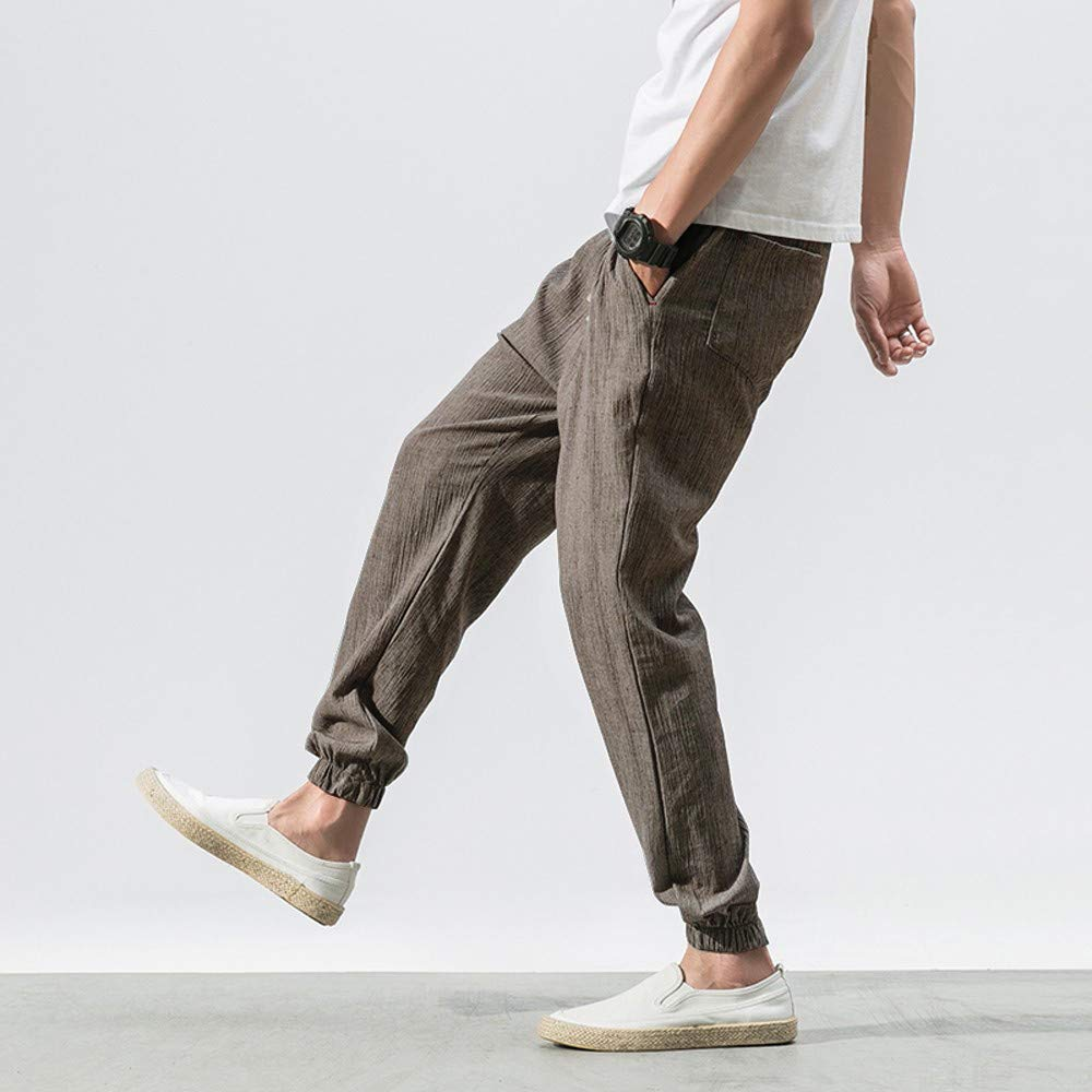 Corriee Baggy Harem Pants Big Mens Summer Casual Loose Solid Color Linen Trousers