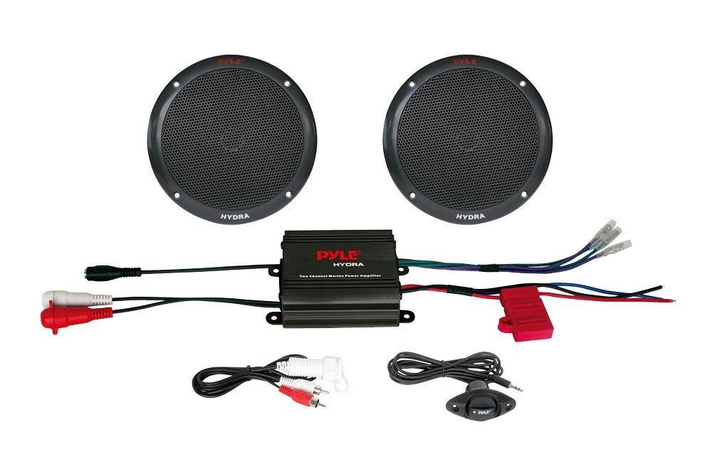 Amazon.com: PLMRKT2B 2 canales de 400 vatios a prueba de agua marina Micro amplificador y sistema de altavoces 6.5 pulgadas: Electronics