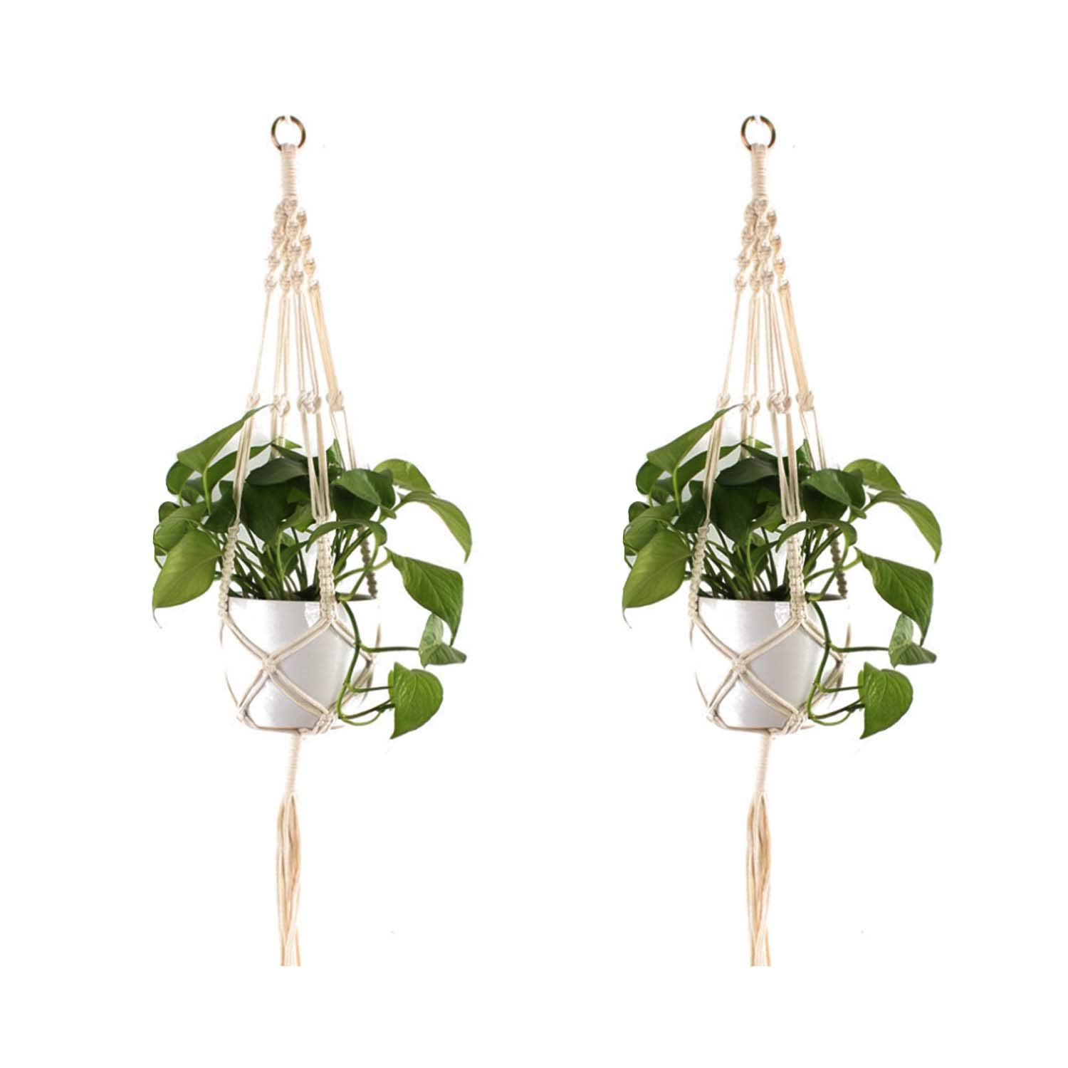 Macrame Plant Hanger Shelf Hanging Planter Wall Art Indoor Decorative Pot Holder Boho Chic Bohemian Home Decor 41 Inches and 46 Inches, Set of 2