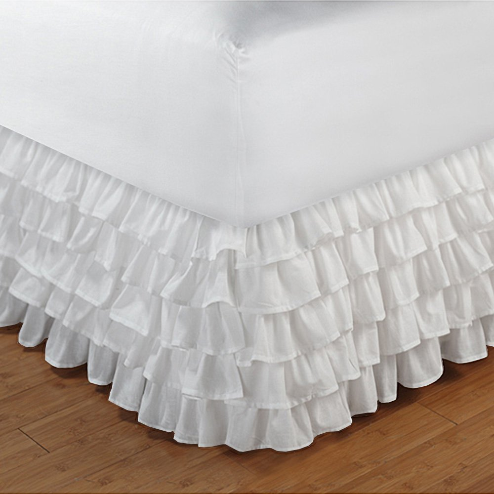 Floris Fashion King XL 300TC 100% Egyptian Cotton White Solid 1PCs Multi Ruffle Bedskirt Solid (Drop Length: 18 inches) - Tailored Finish Super Comfy Easy Care Fabric