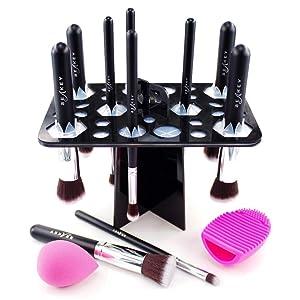 BEAKEY Makeup Brush Set and Makeup Brush Drying Rack Bundle