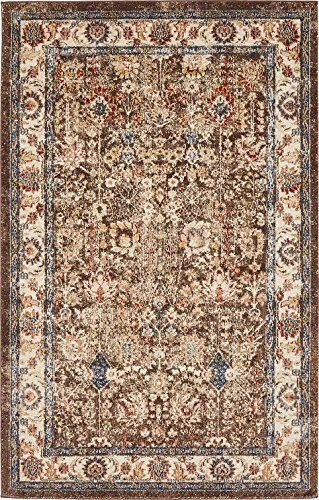 Traditional Persian Rugs Vintage Design Inspired Overdyed Fancy Light Brown 5' x 8' Afshan St. James Area (Burgundy Kashan Rug)