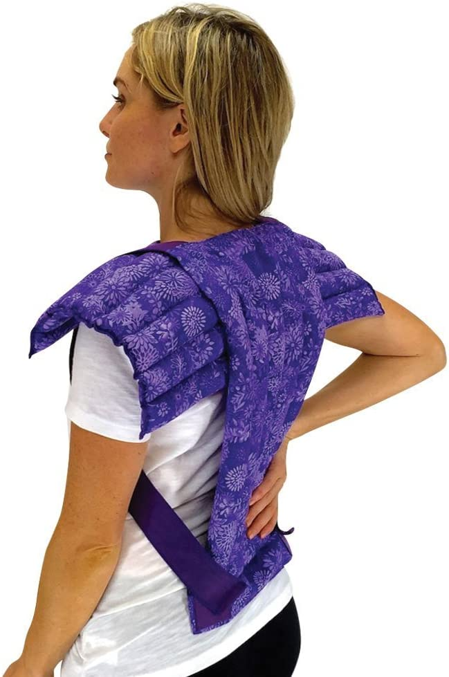 Nature Creation- Set of Upper Body Wrap Heating Pad + Spine & Back Herbal Pack - Natural Hot & Cold Therapy (Purple Flowers)