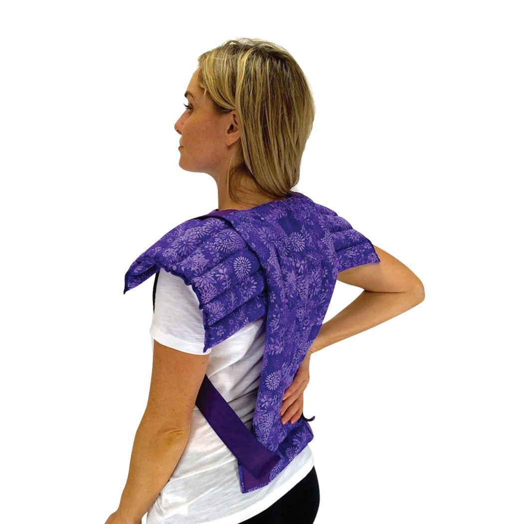 Nature Creation- Set of Upper Body Wrap Heating Pad + Spine & Back Herbal Pack - Natural Hot & Cold Therapy (Purple Flowers) by Nature Creation
