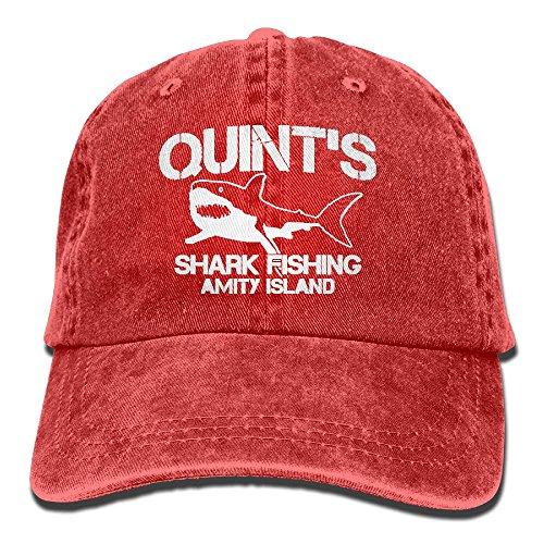 (Quint's Shark Fishing Denim Hat Adjustable Unisex Funny Baseball Hat)