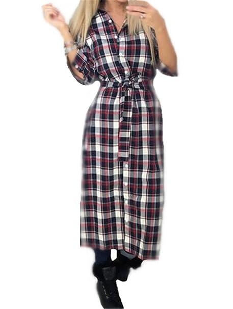 AILIENT Camisas Largo a Cuadros Mujer Clasicos Blusa de Moda de Manga Larga Casual Hipster Top