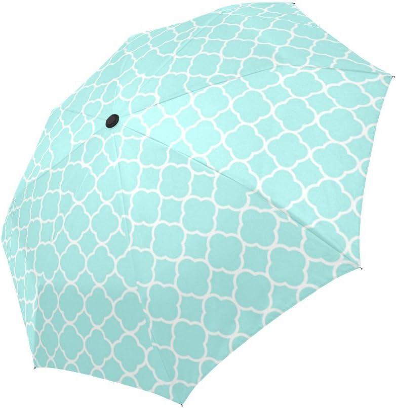 Blue Quatrefoil Pattern Automatic Foldable Umbrella