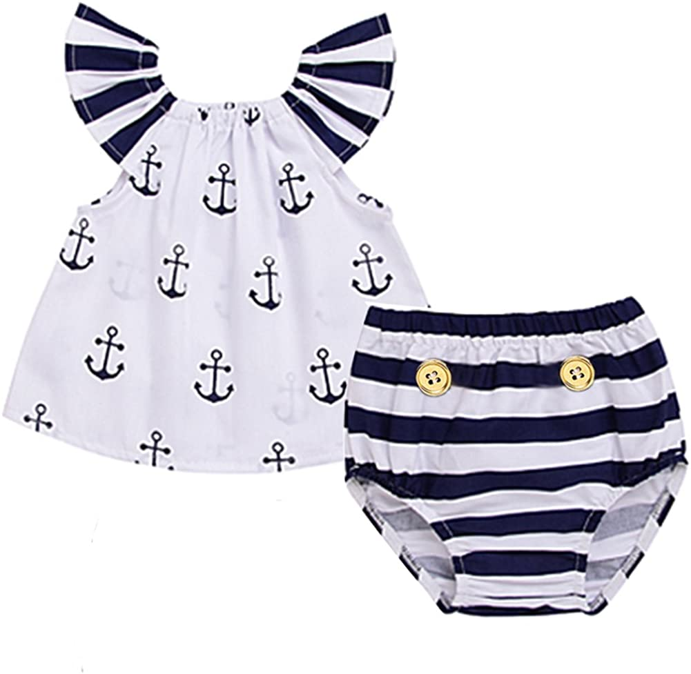 Infant Baby Girls Off Should Anchor Tops and Striped Briefs Outfits Set Sunsuit Clothes Tag Size 70(0-3M, White and Navy Blue)