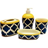 HS HINDUSTANI SAUDAGAR Ceramic/Stoneware Combo of Soap Dispenser, Tooth Brush Holder, Tumbler and Dish (Blue and Yellow)