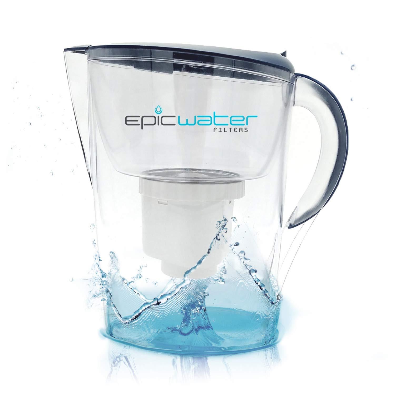 Jarra con filtro de agua Epic Pure, libre de BPA, elimina el fluoruro, plomo cromo 6, PFOS PFOA, metales pesados, microorganismos, pesticidas, ...