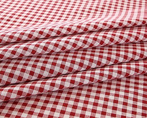Homovater Tovaglia a Quadri Geometrica in Lino e Cotone Rossa a Quadretti Tovaglia Marrone Rossiccio per Tavolo Rettangolare,90X90CM