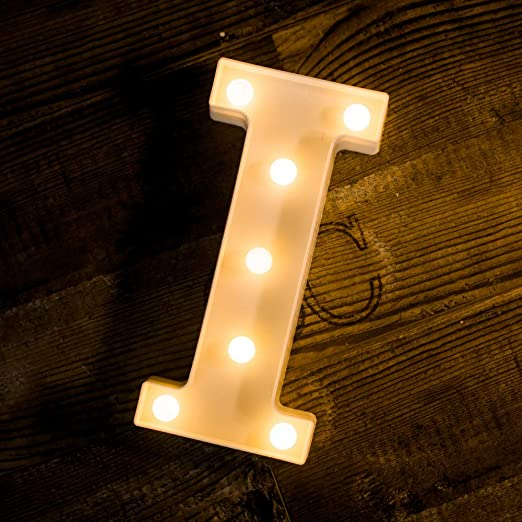 Foaky LED Letter Lights Sign Light Up Letters Sign for Night Light Wedding/Birthday Party Battery Powered Christmas Lamp Home Bar Decoration(I)