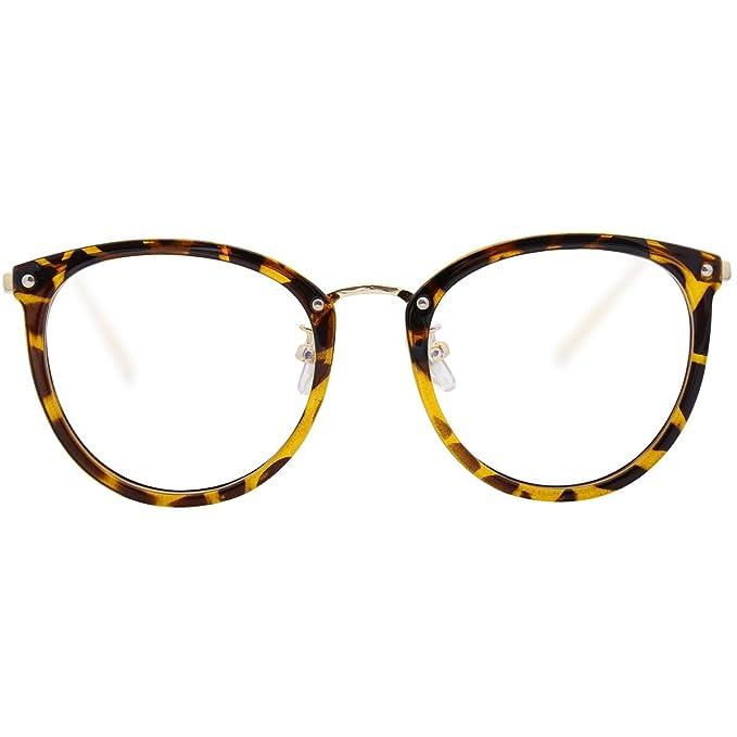 54fcecef1d5 Amomoma Women Fashion Round Eyeglasses Optical Frame Clear Lens Eyewear  AM5001 Tortoise Gold  Amazon.in  Clothing   Accessories