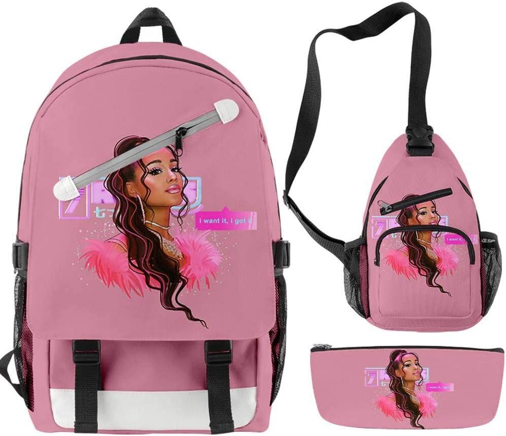 AFHB Ariana Grande Travel Slash Zipper Mochila de Tres Piezas Mochila Mochila Un Solo Hombro Diagonal Pen Bag Lunch Bag Travel Student School Bag (34)