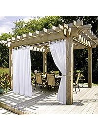 Outdoor Curtain Panel With Rope Tieback   NICETOWN Fade Resistant Tab Top  Indoor Outdoor Sheer Voile