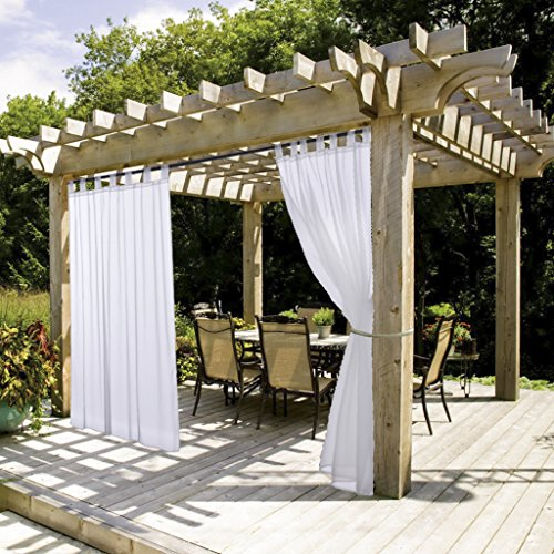 NICETOWN White Sheer Outdoor Curtain Panel Elegant Tab Top Waterproof Curtain for Porch with Rope Tieback (Single Panel, 54 Inch by 84 Inch, White) (Outdoor Fabric Curtains)