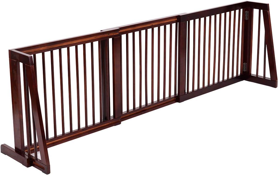 COSTWAY Barrera de Seguridad Extensible Valla de Madera para Puerta Escalera Protecci/ón para Beb/é Perro Mascotas