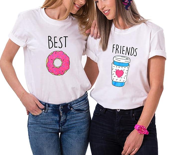 Best Friend Shirts Cartone Animato Cotone Coppia T Shirt Stampa