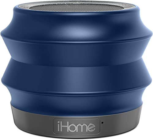 iHome iBT61BC Portable Collapsible Bluetooth Speaker with Speakerphone – Featuring Melody, Voice Powered Music Assistant – Blue
