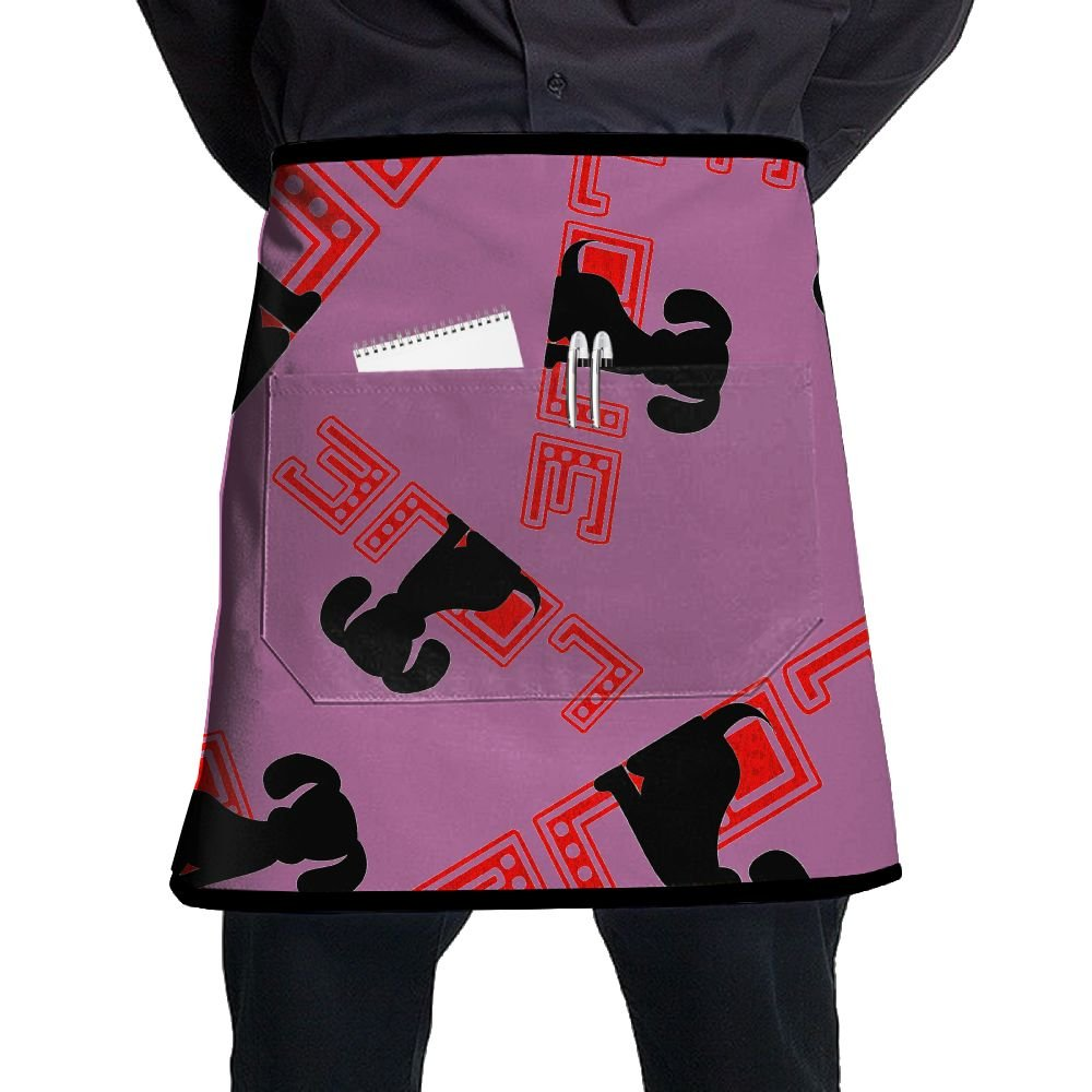 LOVE SILHOUETTE Women Bib Aprons Oil Free Pockets Half-length Long Waist Kitchen Aprons
