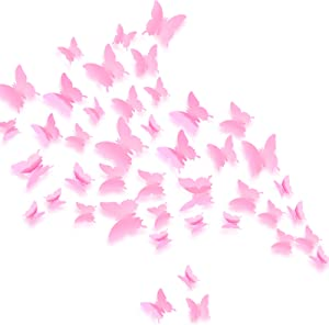 Crosize 72Pcs 3D Butterfly Wall Decor Pink, 3 Sizes Removable Girl Room Wall Decor for Nursery Baby Girls Bedroom Home Party Decor