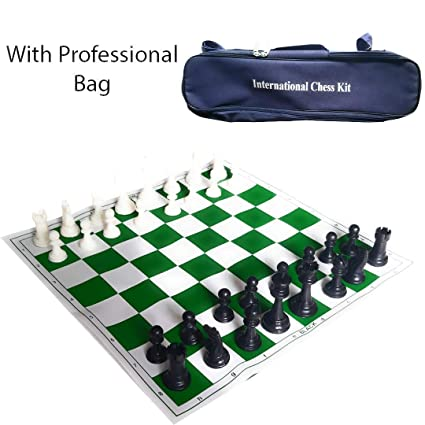 Sesion 17 x 17 Tournament Chess Vinyl Foldable Chess Game with Solid Plastic Pieces - Ideal for Professional Chess Players (Free Carry Bag)
