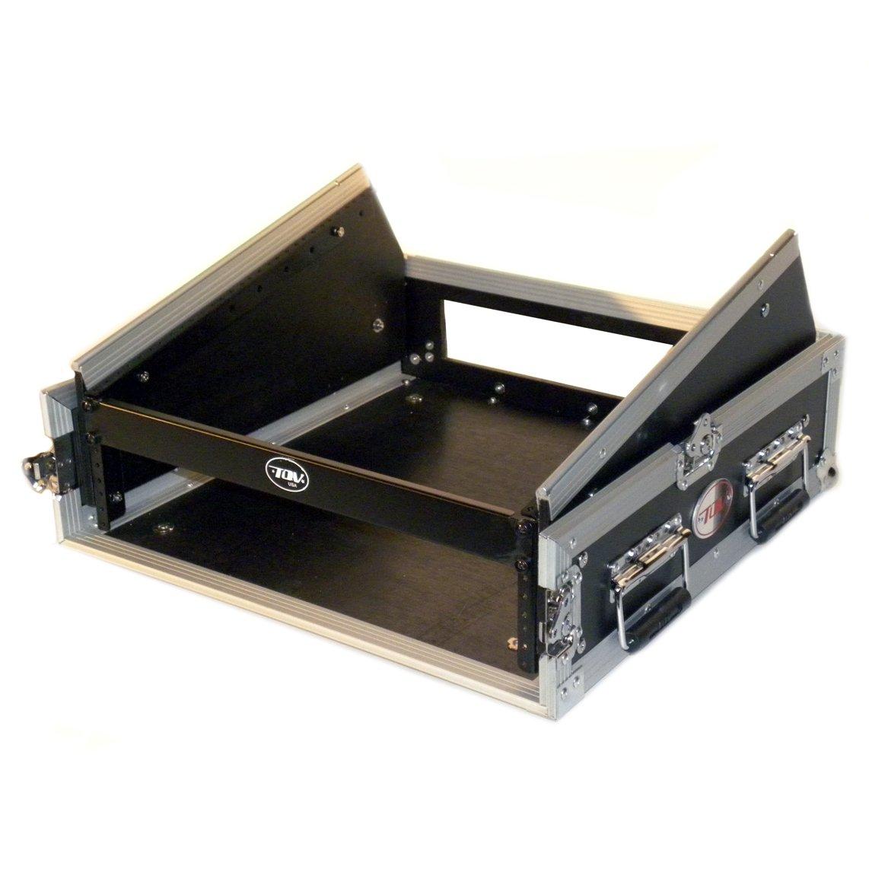 ProX Cases T-2MRSS 2 Space Amp 10 Slanted Top 2U 10U Mixer DJ Combo Rack Mount Flight Case