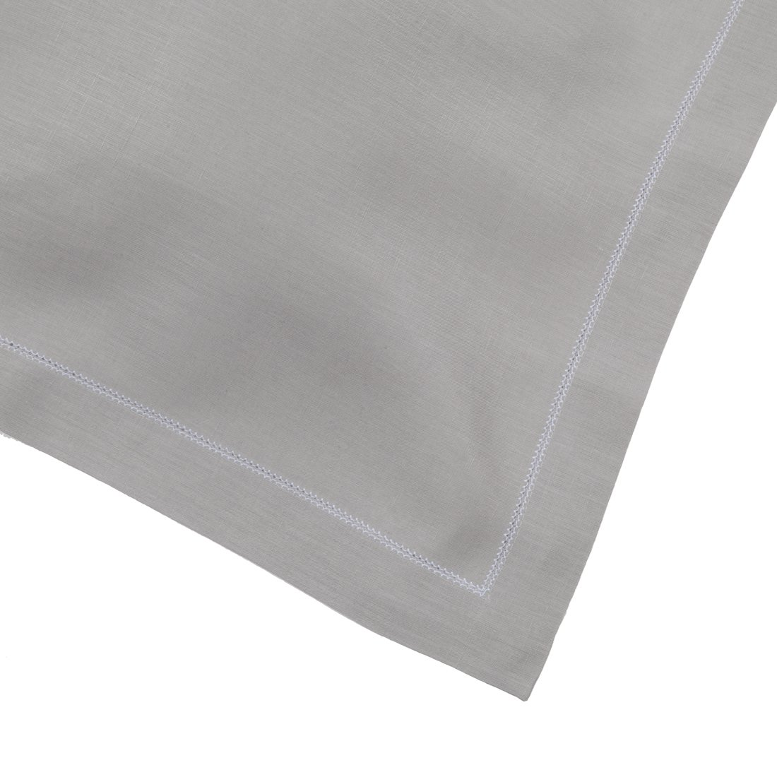 Silver Grey Linen Napkin With Contrast White Hemstitch (Set of Six)