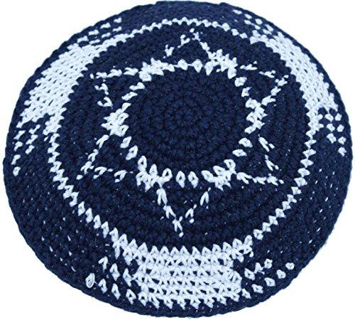 Holy-Land-Market-Dark-BlueWhite-With-Star-Of-David17cm-DMC-100-Knitted-Cotton-Kippah-Jewish