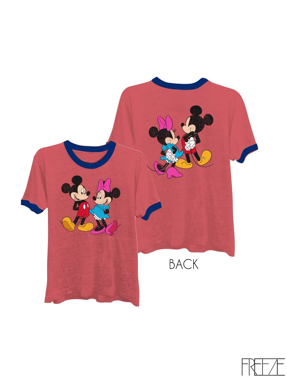 Ringer Tee Mickey Minnie Graphic Print Women Fashion T-Shirt - Chic, Cozy and Comfortable, Complete with Short Sleeves and an Easy Fit, Round Neck with Contrast Ringer, Available in All Sizes Red Medium