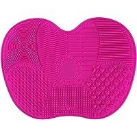 Tapis de nettoyage de brosse de maquillage Tapis de nettoyage de brosse cosmétique Tapis de nettoyage de silicone pour le lavage de rinçage et de conservation (Rose rouge)