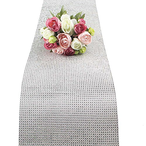 AerWo 1 Yard 50 Rows Mesh Trim Wedding Decoration Crafts Bling Diamond Wrap Party Rhinestone Crystal DIY Festive Events Supplies Silver (Rhinestone Mesh Runner)