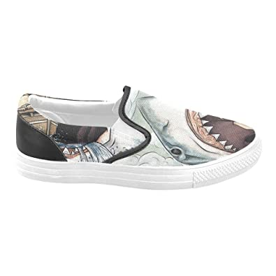 D-Story Shark Ship Women s Slip-on Canvas Shoes Fashion Sneaker 0345b0ca9b