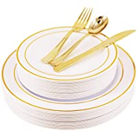 Seekavan 125-Piece Gold Rim Disposable Plastic Dinnerware Set