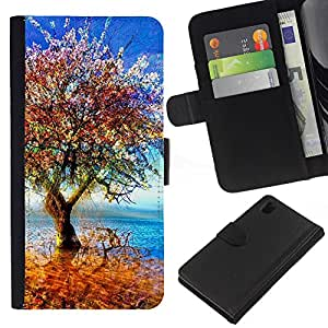 KLONGSHOP // Tirón de la caja Cartera de cuero con ranuras para tarjetas - Árbol colorido - Sony Xperia Z1 L39 //