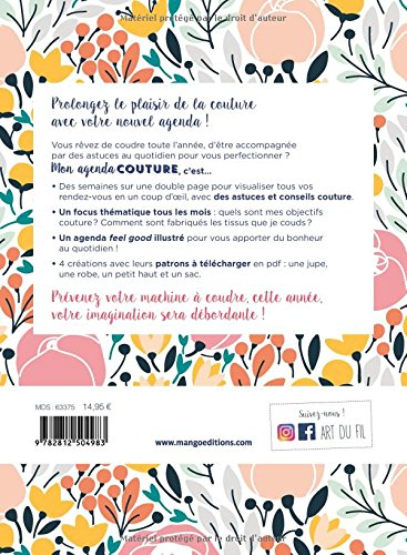 Bekannt Amazon.fr - Agenda Couture Mon Agenda Couture 2018 - Morieux  WV52