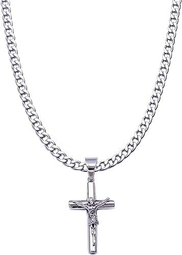 Mens stainless steel Black cuban jesus cross pendant necklace chain Link
