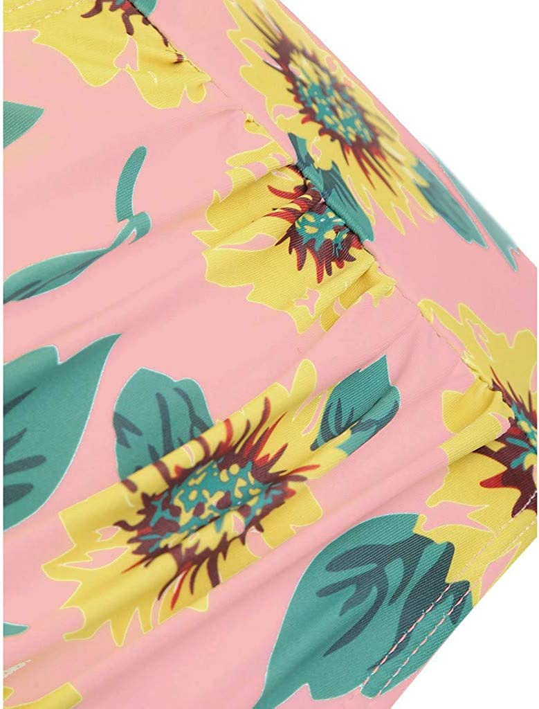 Swimsuit for Women Two Pieces Ruffled Top High Waisted Sunflower Print Bottom Bathing Suit Bikini Set