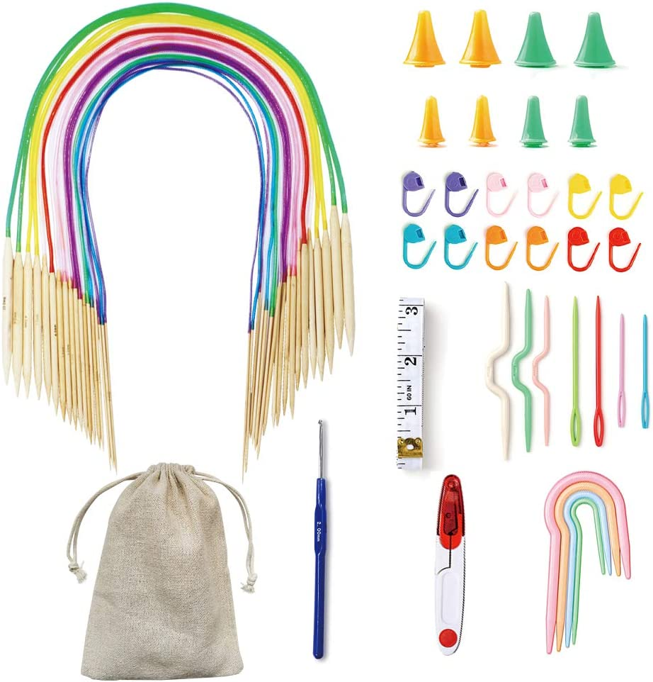 Exquiss 18 Pairs Knitting Needles Set Circular Wooden Knitting Needles with Colorful Plastic Tube,Weaving Tools Pack for Beginner,32 Length,Sizes 0-15 2.0mm-10.0mm