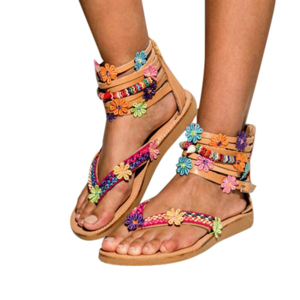 AMUSTER Sandalen Damen Sommer Flach Bunt Boho Vintage Schuhe Zehentrenner Schuhe Übergröße Sommerschuhe Strandschuhe Pantoletten