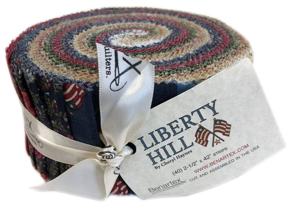 Benartex Liberty Hill Pinwheel 2.5-inch Fabric Quilting Strips Jelly Roll Cheryl Haynes