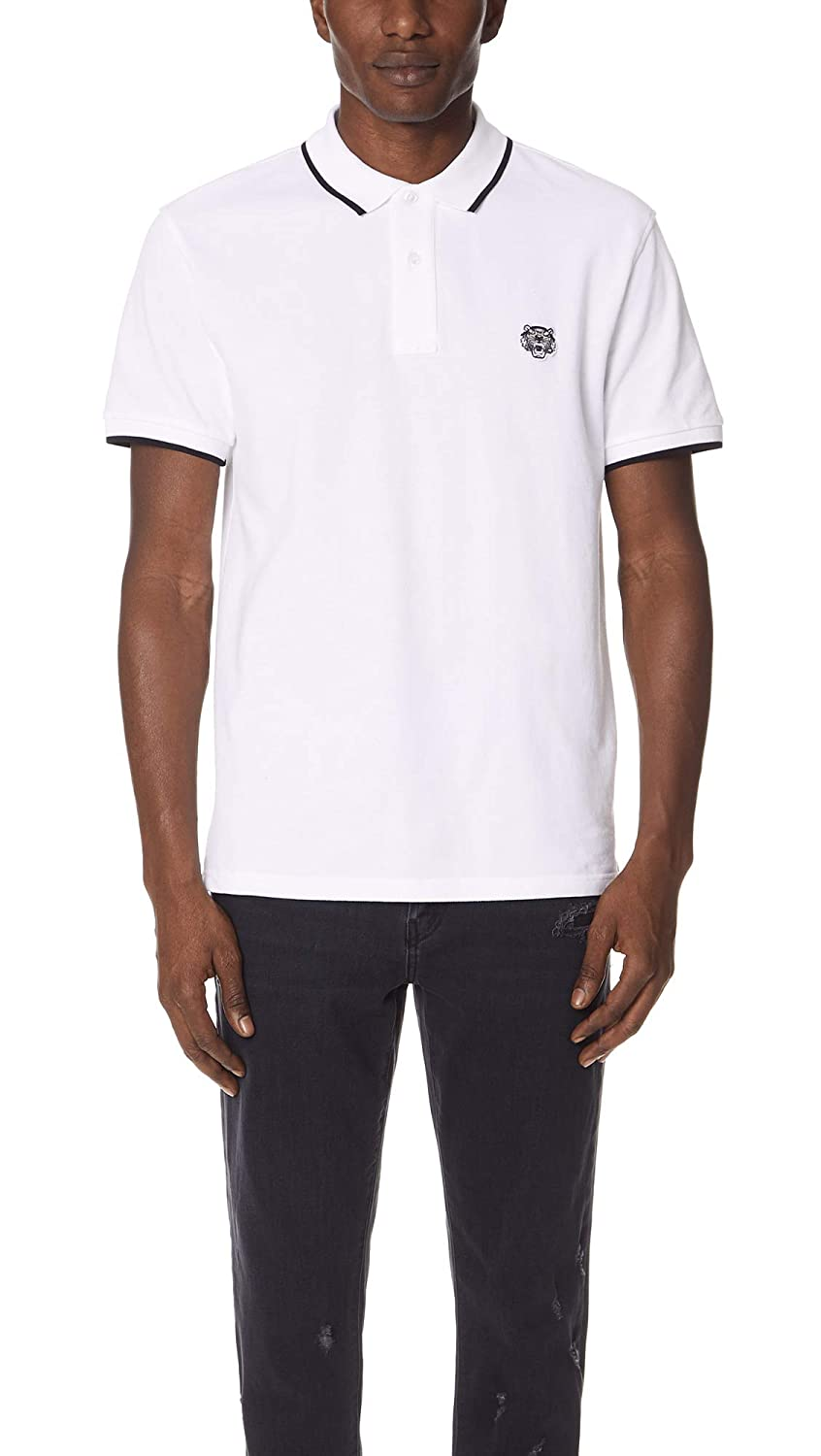 Kenzo Men's White Tiger Head Polo Shirt With Black Tipped