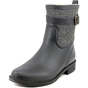 Chooka Buckled Herringbone Women US 8 Black Rain Boot
