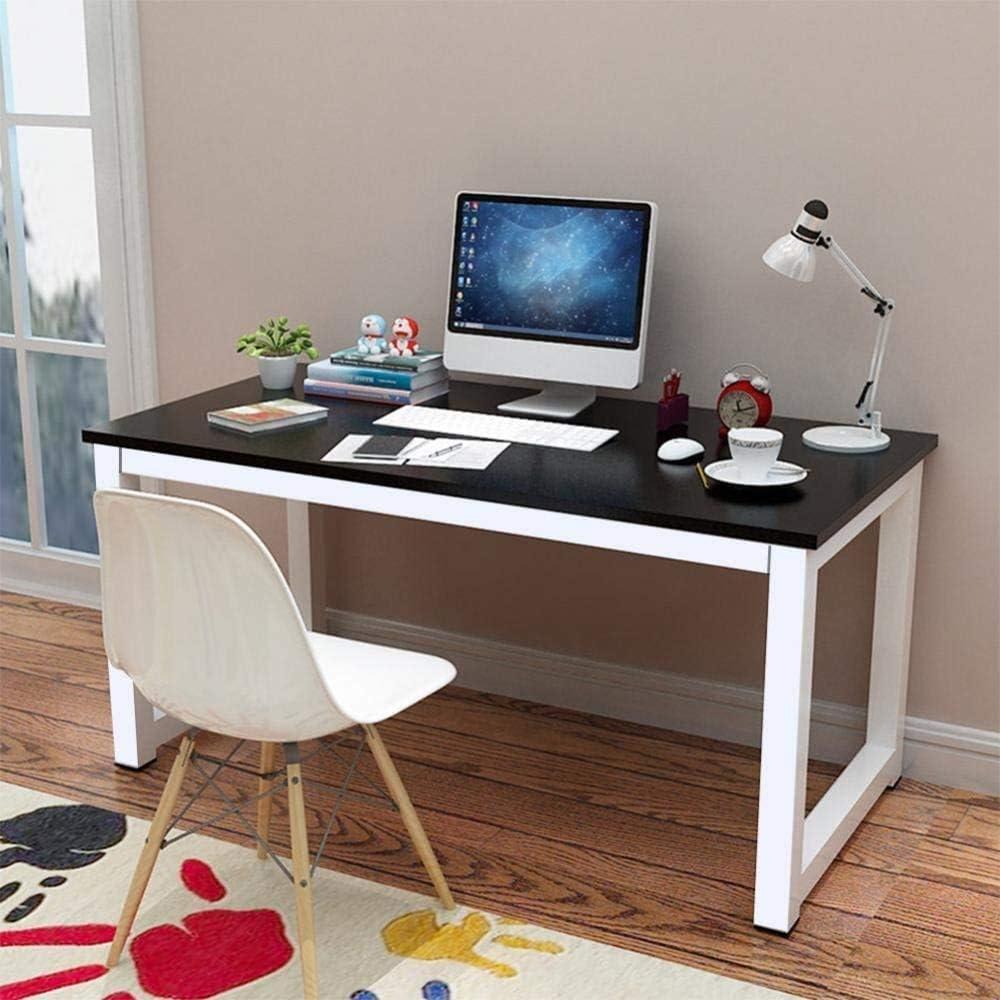 ampio bosco e superfici metalliche 120 x 60 x 74 centimetri nero,Black Scrivania del computer scrivania del computer banco di lavoro