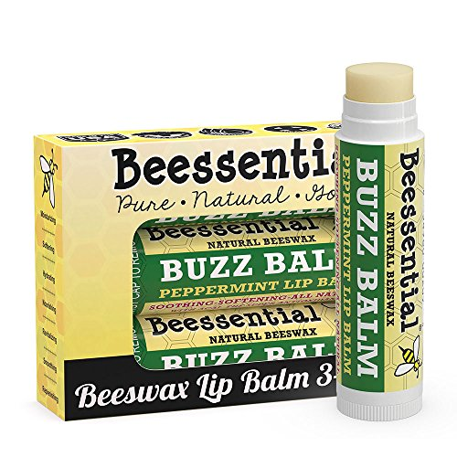(Beessential All Natural Peppermint Lip Balm 3 Pack with Moisturizing Beeswax, Shea & Cupuacu Butter, Coconut for Dry and Chapped Lips - For Adults and Kids - Made in the USA)