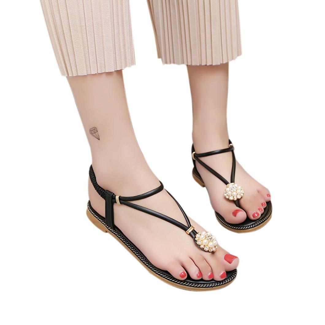 Honestyi ??Frauen Bohemian Pearl Sandalen Sommermode Diamant Sandalen Flache Sandalen Schuhe Transparente Starke Ferse Hochhackige Schuhe Sandalen37 EU Schwarz
